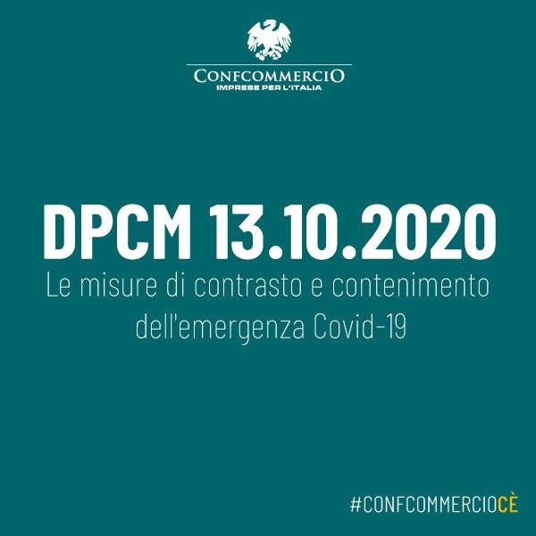 Emergenza COVID-19 – DPCM 13 ottobre 2020 – Efficacia dal 14 ottobre 2020 al 13 novembre 2020